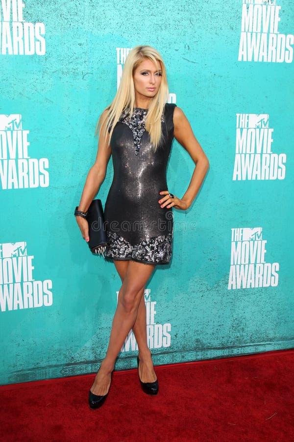 París Hilton que llega las concesiones 2012 de la película de MTV fotografía de archivo libre de regalías