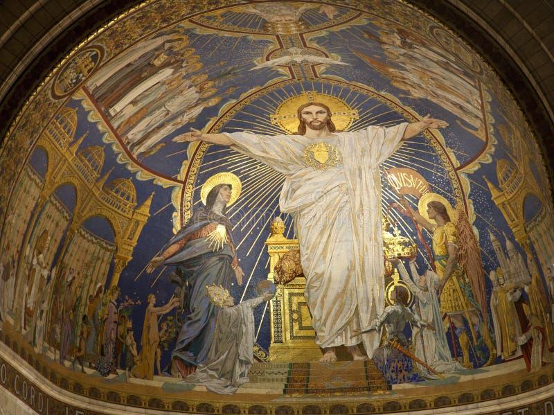 París - Jesús del ápside de la basílica del couer de Sacre imágenes de archivo libres de regalías
