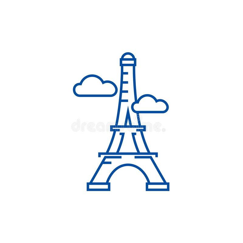 París, línea concepto de la torre Eiffel del icono París, símbolo plano del vector de la torre Eiffel, muestra, ejemplo del esque stock de ilustración