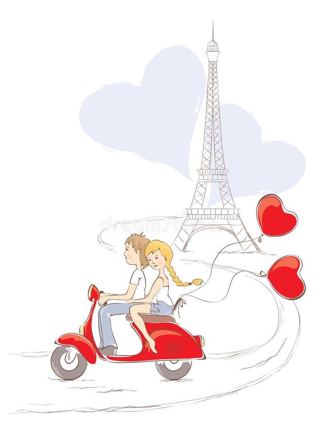 París - la ciudad del amor stock de ilustración