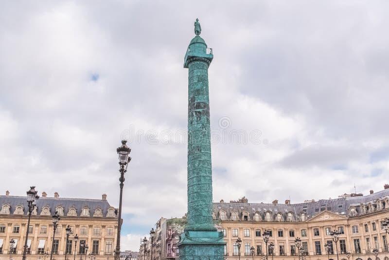 París, lugar Vendome, la columna foto de archivo libre de regalías