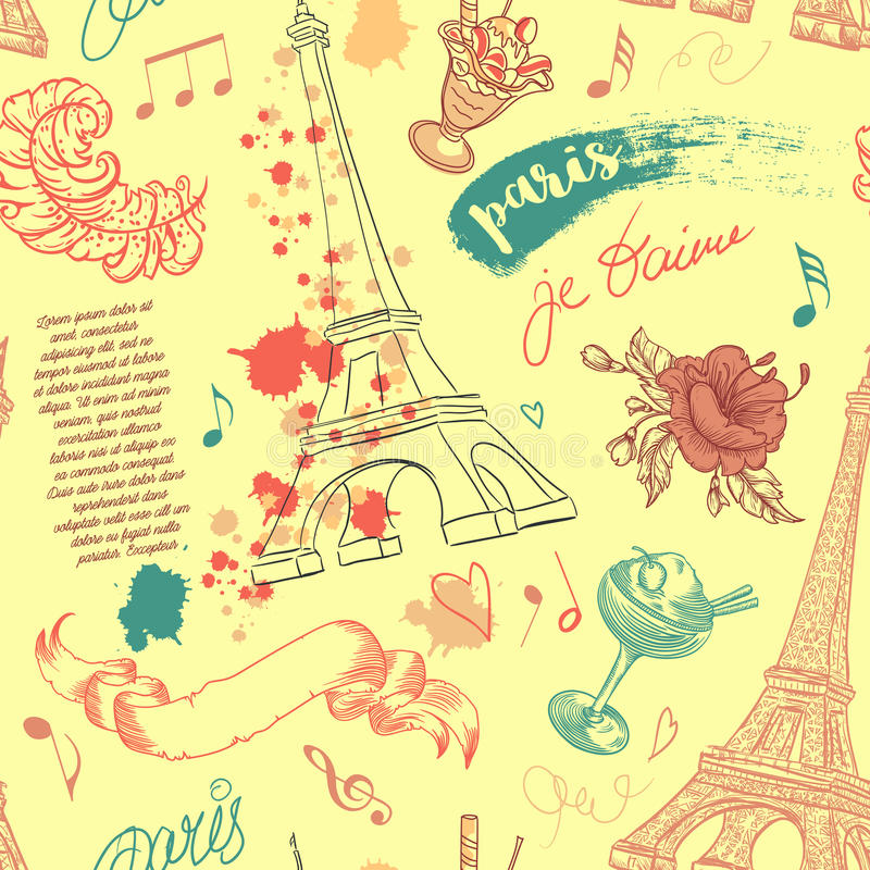 parís Modelo inconsútil del vintage con la torre Eiffel, las flores, las plumas, los cócteles y el texto stock de ilustración