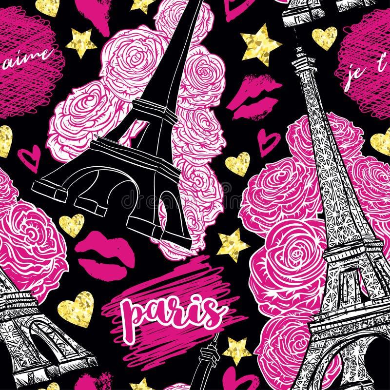parís Modelo inconsútil del vintage con la torre Eiffel, las rosas, los besos, los corazones y las estrellas con textura de oro d stock de ilustración