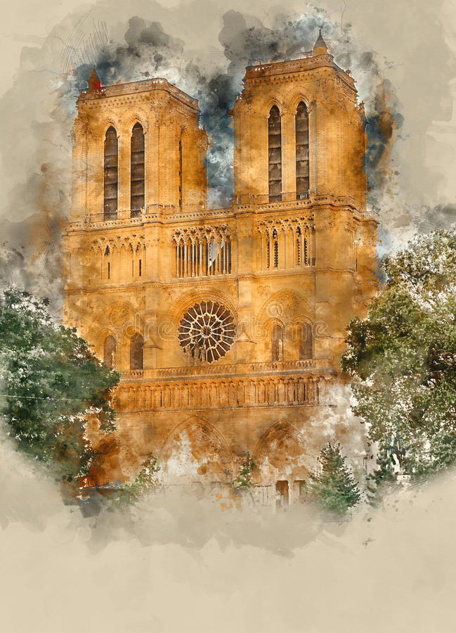 París Notre Dame Cathedral - una atracción turística imagen de archivo libre de regalías