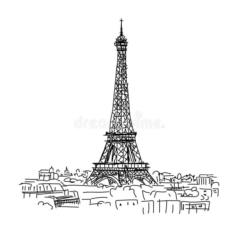 París, paisaje urbano con la torre de Eifel Bosquejo para su diseño stock de ilustración