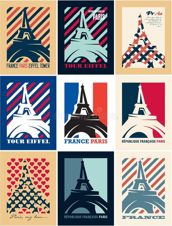 París, torre Eiffel, Francia, carteles del estilo de Art Deco, postales del viaje ilustración del vector