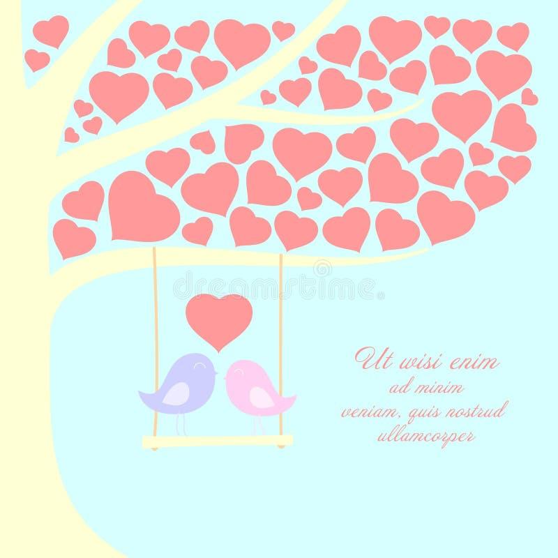 Par älskar fåglar står på gungan under trädhjärtan lämnar form, vektorbakgrund royaltyfri illustrationer