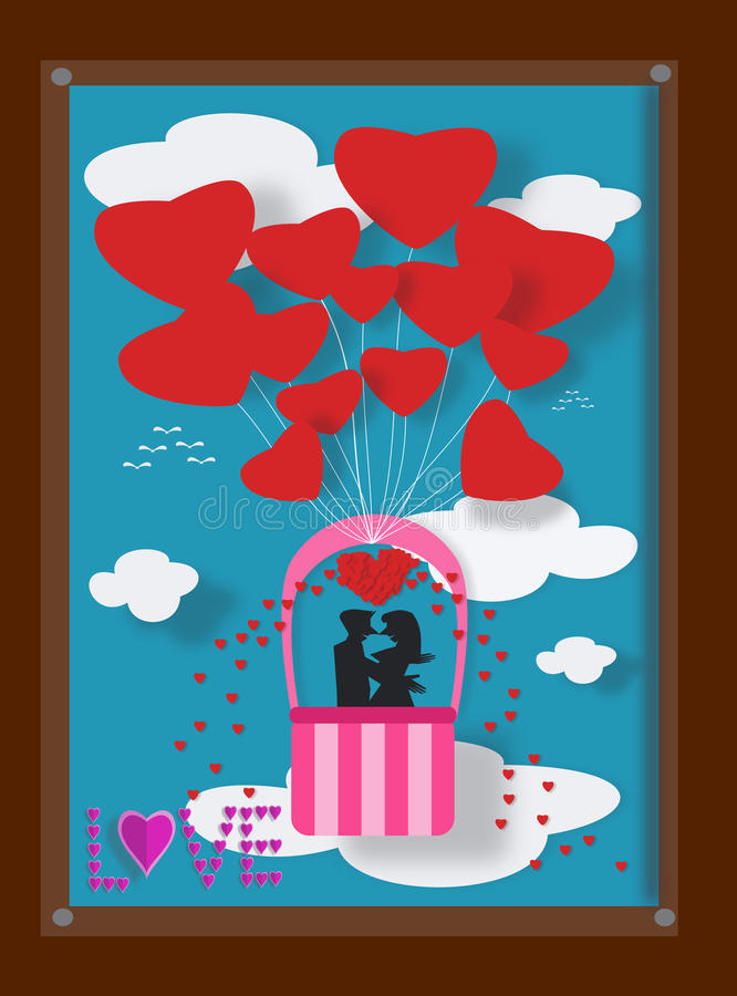 Par älskar på ballongen i bildram vektor illustrationer