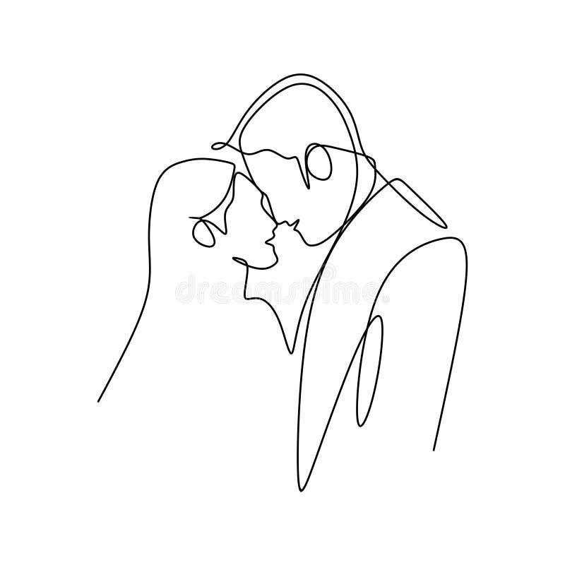 Par önskar att kyssa sig Begrepp av falla för par som är förälskat, och shower deras sinnesrörelser Goda för valentinbaner med et stock illustrationer