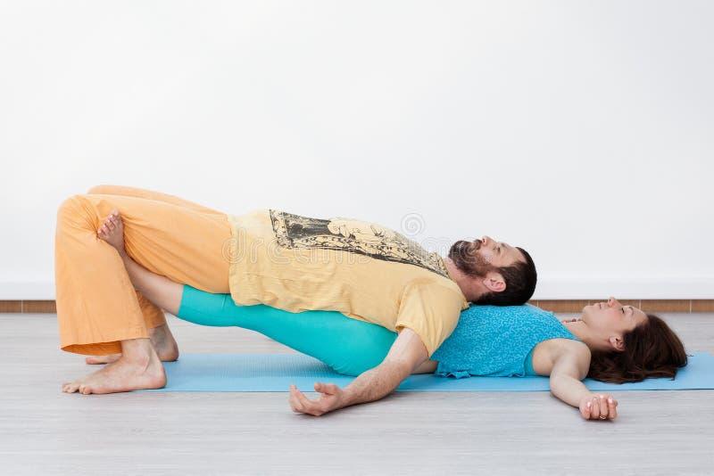Par ćwiczenia stretching obrazy royalty free