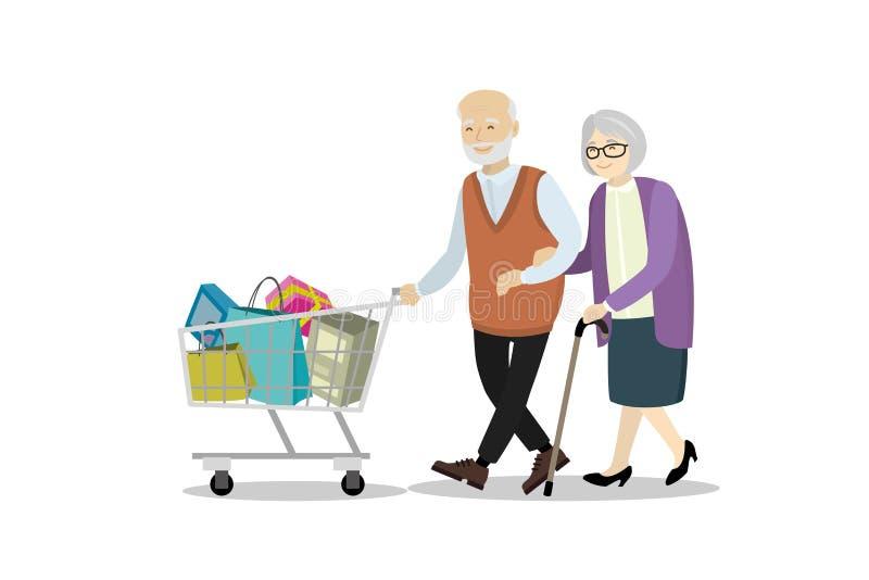 Par av äldre folk med shoppingspårvagnen vektor illustrationer