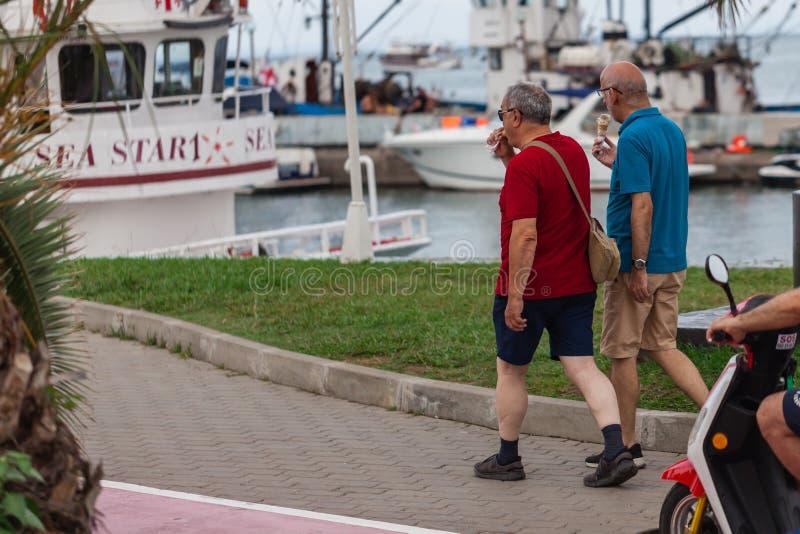 Par av äldre homosexuella personer går tillsammans arkivbild