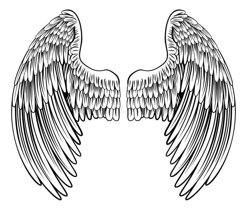 Par av ängeln eller Eagle Wings royaltyfri illustrationer