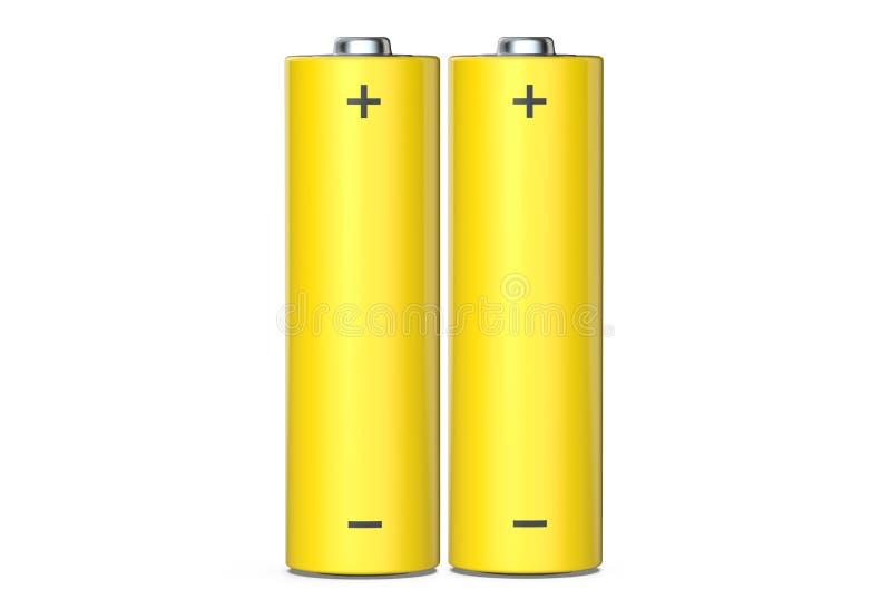 Par av alkaliska batterier för motorförbundet som isoleras på vit bakgrund, 3D framför stock illustrationer