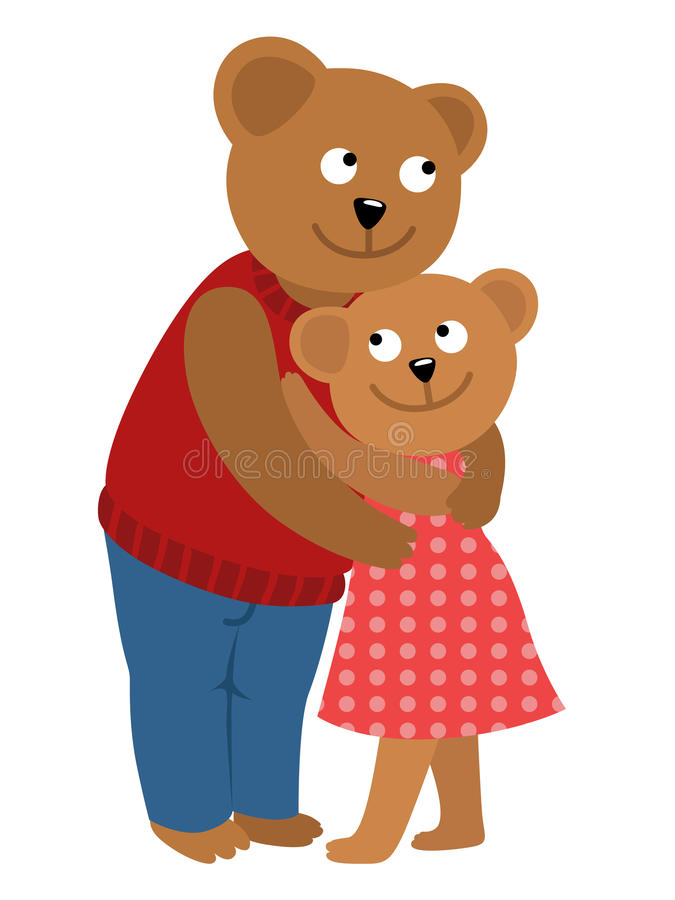Par av att krama för björnar Vektorillustration av för daglyckönskan för valentin s kortet stock illustrationer