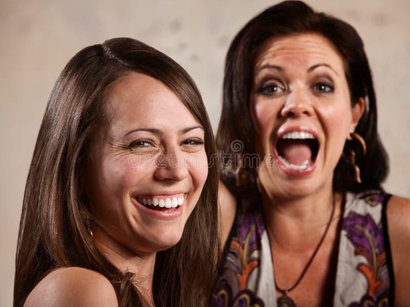 Par av att skratta för damtoalett royaltyfria foton