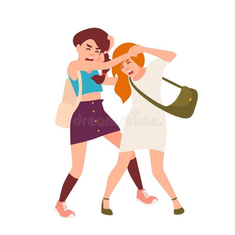 Par av att slåss för tonårs- flickor Konflikt mellan barn, våldsamt uppförande bland tonåringar, skolamissbruk cartoon vektor illustrationer