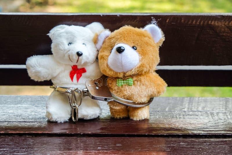 Par av björndockan som tillsammans sitter på träbänken med handfängslat arkivbilder