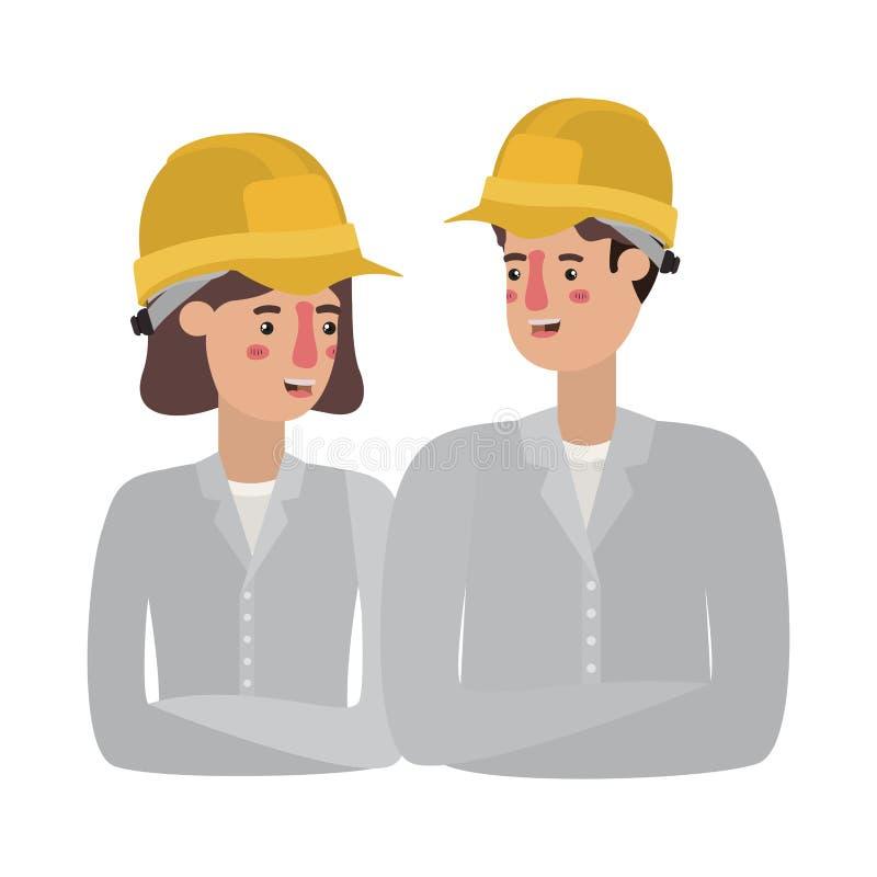 Par av byggmästareavatarteckenet vektor illustrationer