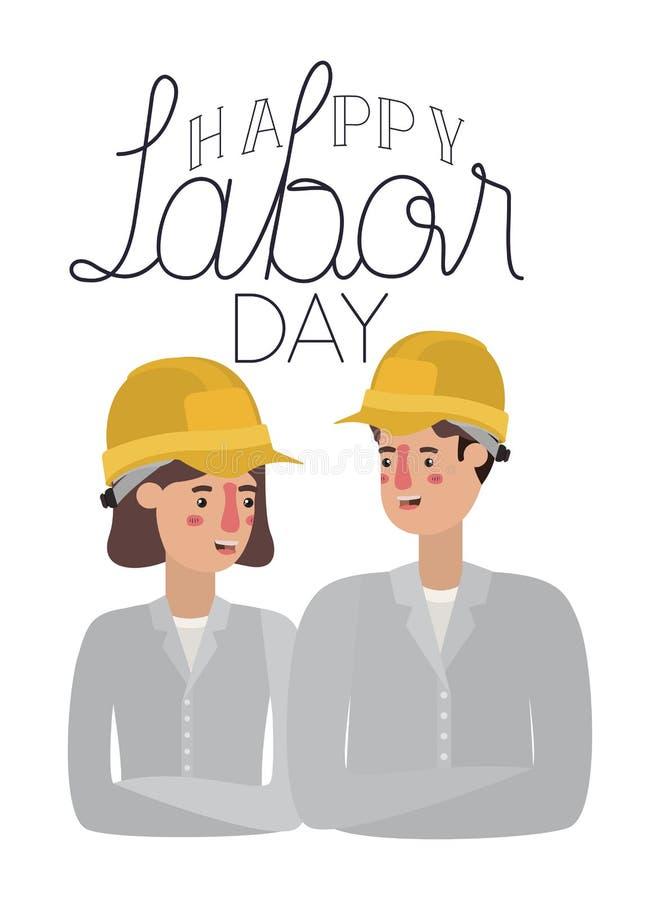 Par av byggmästaren som firar avatarteckenet för arbets- dag royaltyfri illustrationer