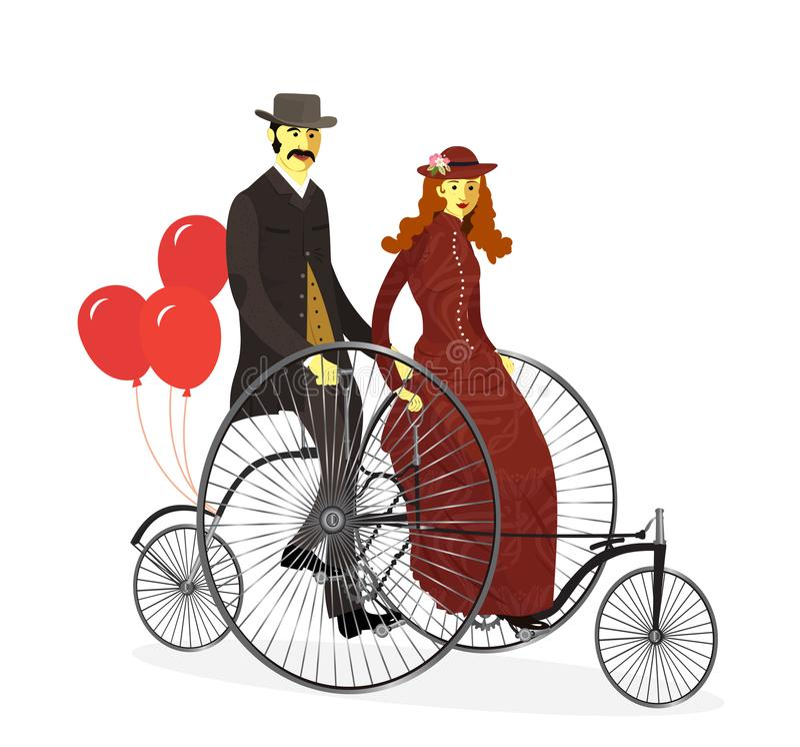 Par av cyklister på den tandema cykeln med ballonger vektor royaltyfri illustrationer