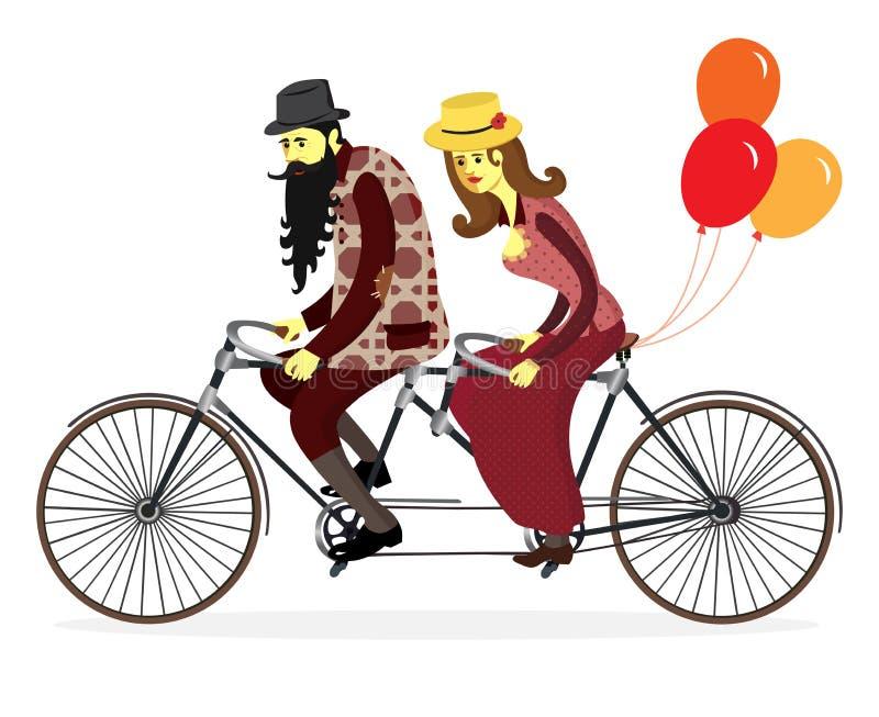 Par av cyklister på den tandema cykeln med ballonger Vektor Illust royaltyfri illustrationer