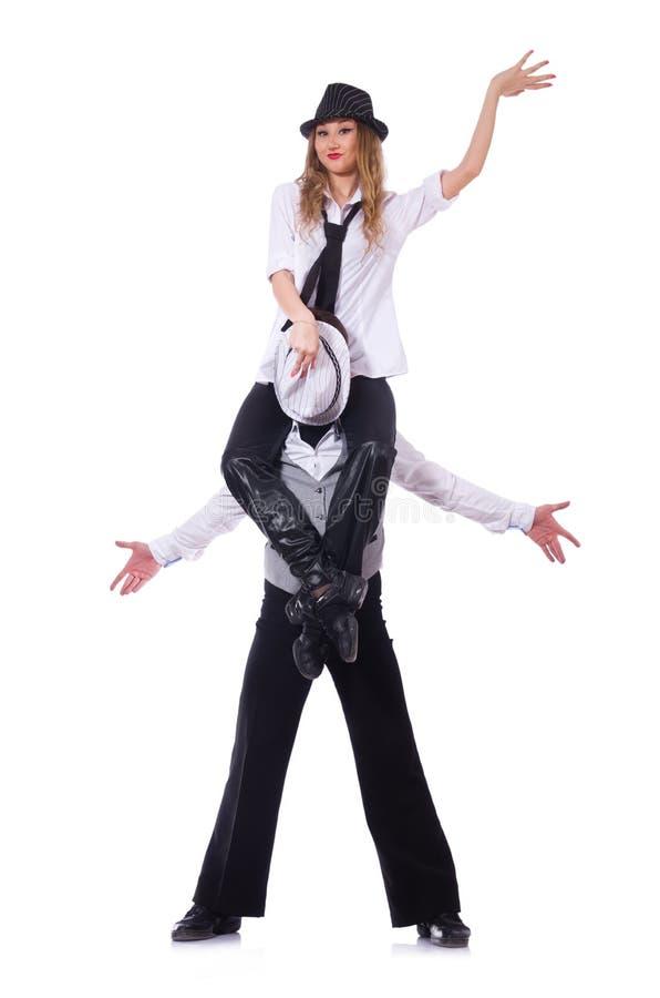 Par av dansare som dansar den isolerade moderna dansen royaltyfri foto