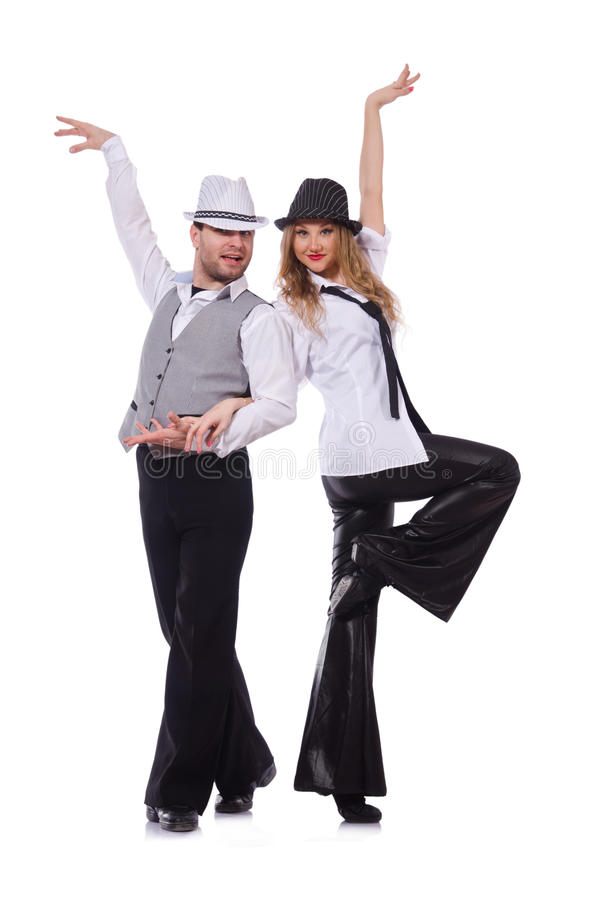 Par av dansare som dansar den isolerade moderna dansen royaltyfria foton