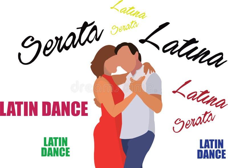 Par av dansareavsikt på att dansa latinsk musik vektor illustrationer