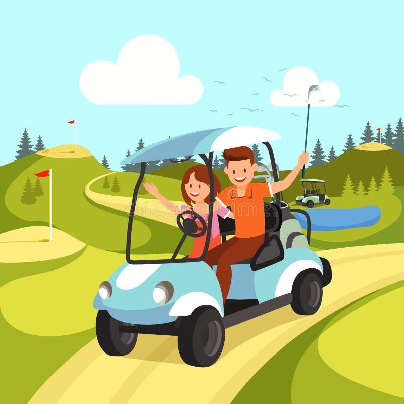 Par av den unga mannen och kvinnan som kör golfvagnen royaltyfri illustrationer