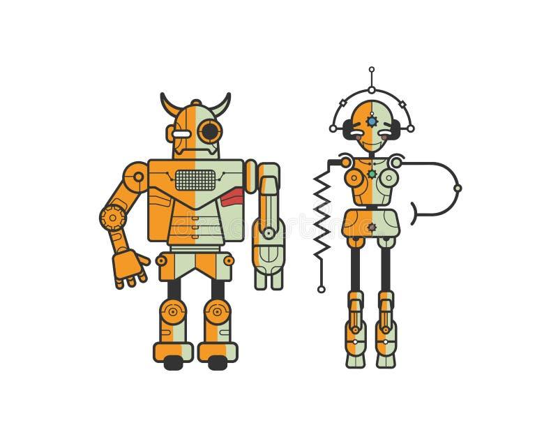 Par av färgrika roliga tecknad filmrobotar som isoleras på vit bakgrund Begrepp av det vänliga android- och metallmonstret royaltyfri illustrationer