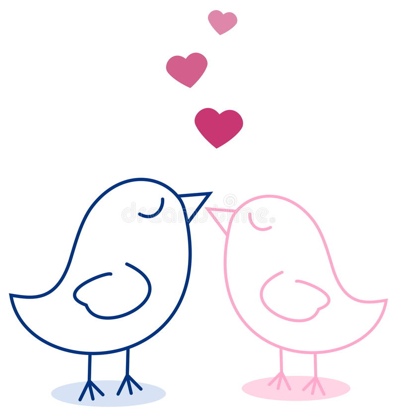 Par av fågelmagneten stock illustrationer
