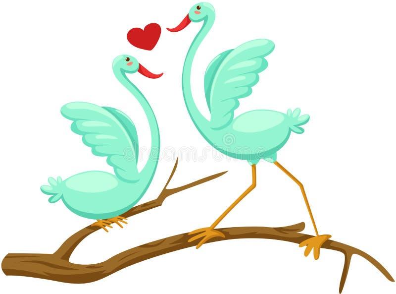 Par av fåglar royaltyfri illustrationer