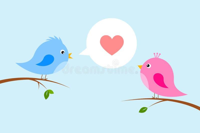 Par av förälskade gulliga fåglar vektor illustrationer
