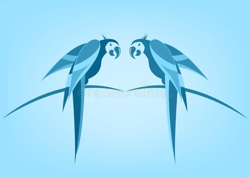 Par av för fågelsymbolen för papegojor den tropiska illustrationen för bilden planlägger monokrom vektor illustrationer