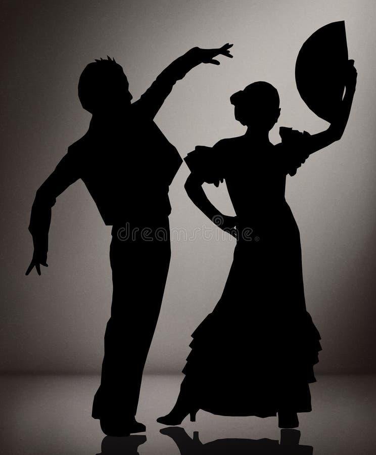 Par av flamencodansare på svartvit bakgrund royaltyfria foton