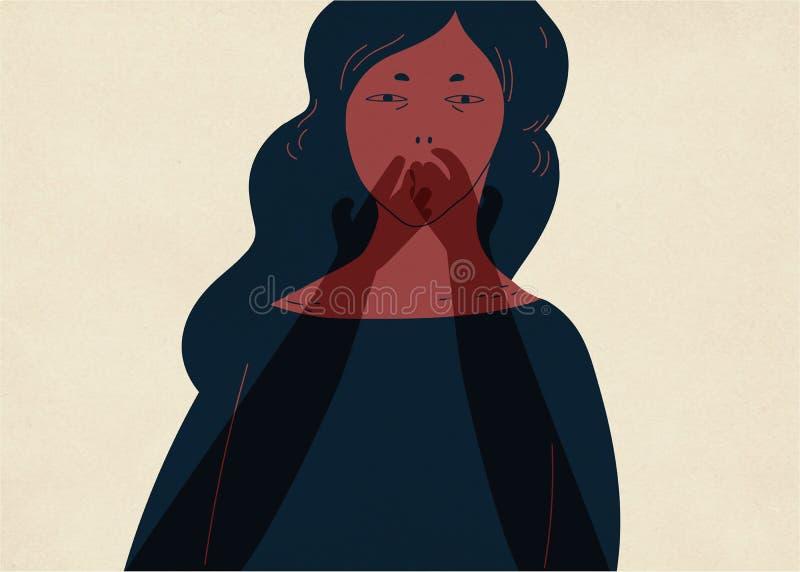 Par av genomskinliga spöklika händer som täcker munnen av den unga kvinnan Begrepp av oförmågan att berätta om erfarenhet av sexu stock illustrationer