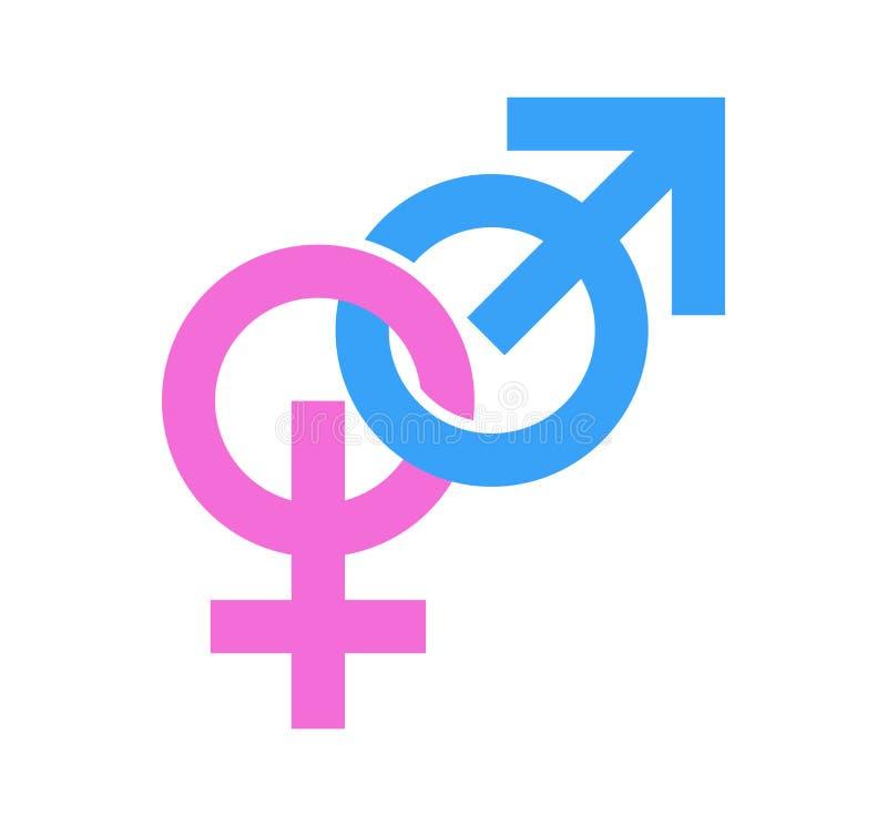 Par av genustecken Symboler av manligt och kvinnligt som anknytas Vektorillustration i eps10 royaltyfri illustrationer
