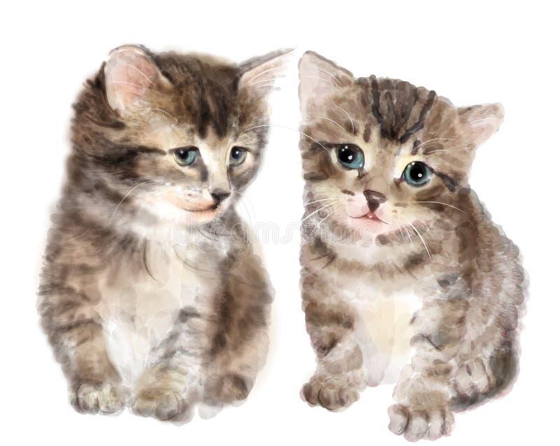 Par av gulliga fluffiga kattungar royaltyfri illustrationer