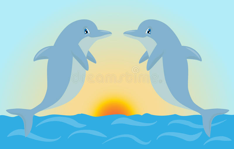 Par av gulliga tecknad filmdelfin som spelar i solnedgången, tänder Vecto vektor illustrationer