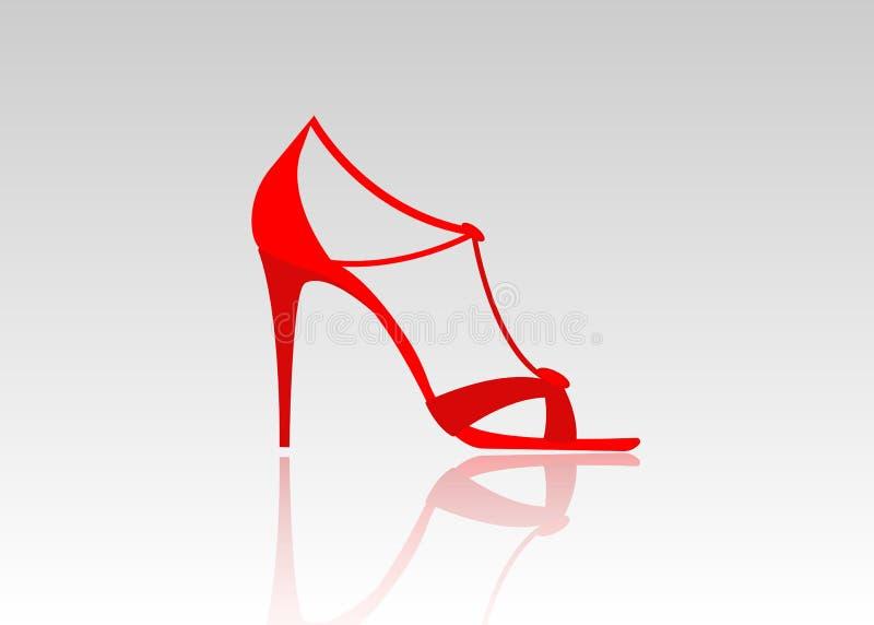 Par av härliga röda höga häl Kvinnliga trendiga läderskor som isoleras vektor illustrationer