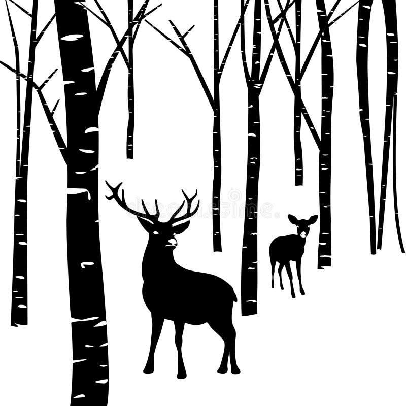 Par av hjortar och skogen stock illustrationer