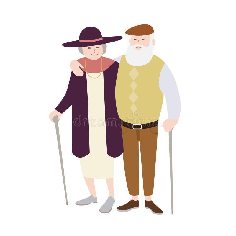 Par av iklätt stilfullt klädanseende för gamal man och för kvinna med rottingar stock illustrationer