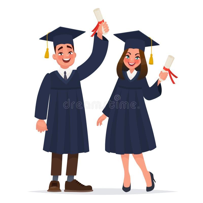 Par av kandidater med diplom Grabben och flickan avlade examen från universitet royaltyfri illustrationer