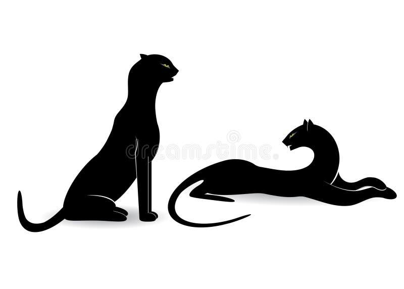Par av katter royaltyfri illustrationer