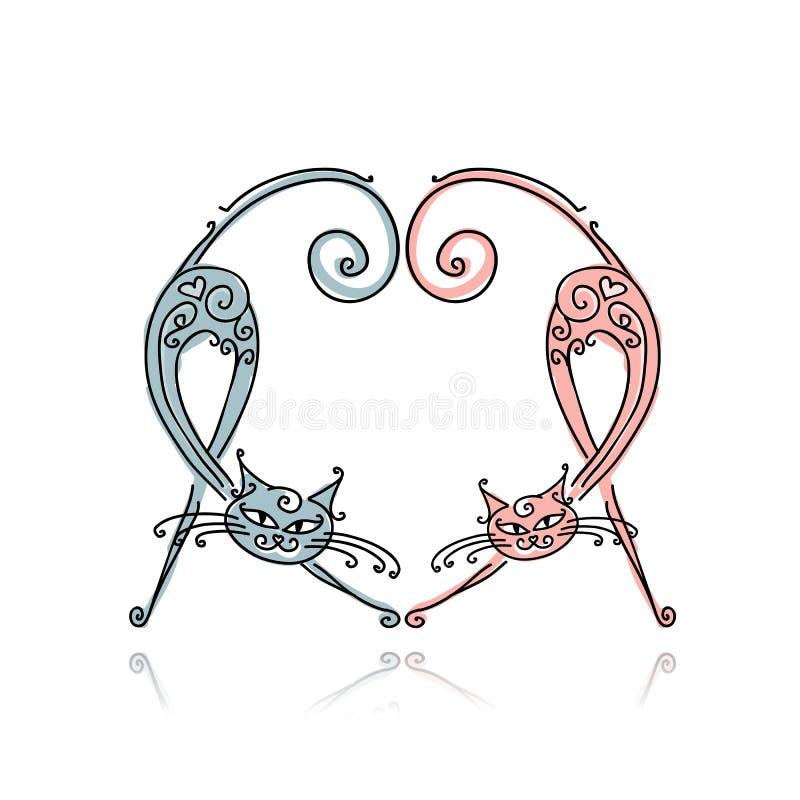 Par av katter för din design royaltyfri illustrationer