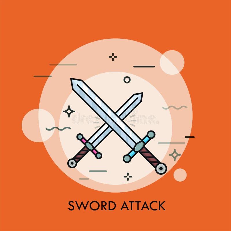 Par av korsade eller kollidera svärd vektor illustrationer