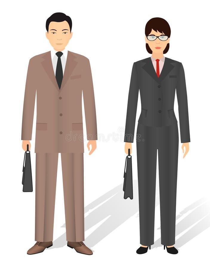 Par av mannen och kvinnan för affär den asiatiska teamwork för pussel för grupp för byggnadsaffärsidékonstruktion Plana designfol vektor illustrationer