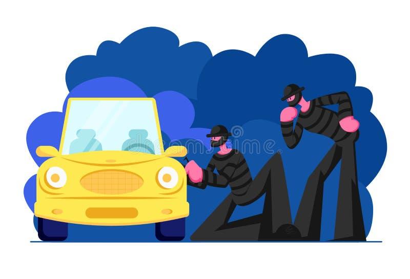 Par av maskerade kapare som bär svart kläder som står bredvid bilen och försöker att bryta in i den Manliga tecken som begår brot stock illustrationer