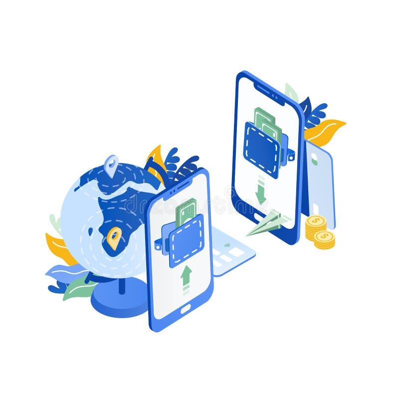 Par av moderna mobiltelefoner, jordklot som flyger pappersnivån Säker och snabb internationell ögonblicklig service för pengaröve vektor illustrationer